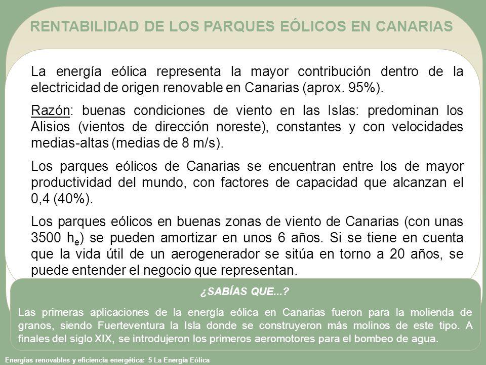 Energías renovables y eficiencia energética: 5 La Energía Eólica RENTABILIDAD DE LOS PARQUES EÓLICOS EN CANARIAS La energía eólica representa la mayor contribución dentro de la electricidad de origen renovable en Canarias (aprox.