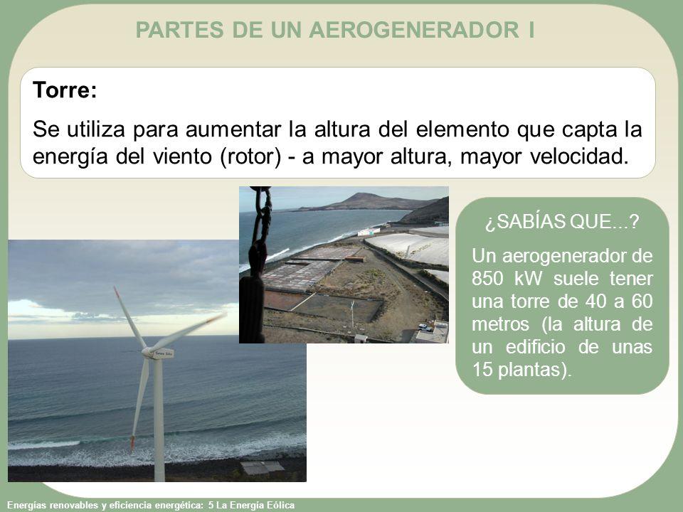 Energías renovables y eficiencia energética: 5 La Energía Eólica PARTES DE UN AEROGENERADOR II Rotor: El rotor es el conjunto formado principalmente por las palas y el buje (elemento de la estructura al que se fijan las palas).