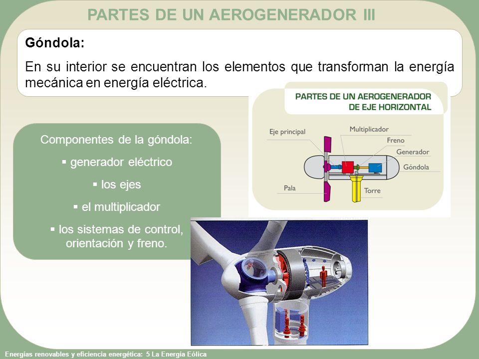 Energías renovables y eficiencia energética: 5 La Energía Eólica PARTES DE UN AEROGENERADOR III Góndola: En su interior se encuentran los elementos qu