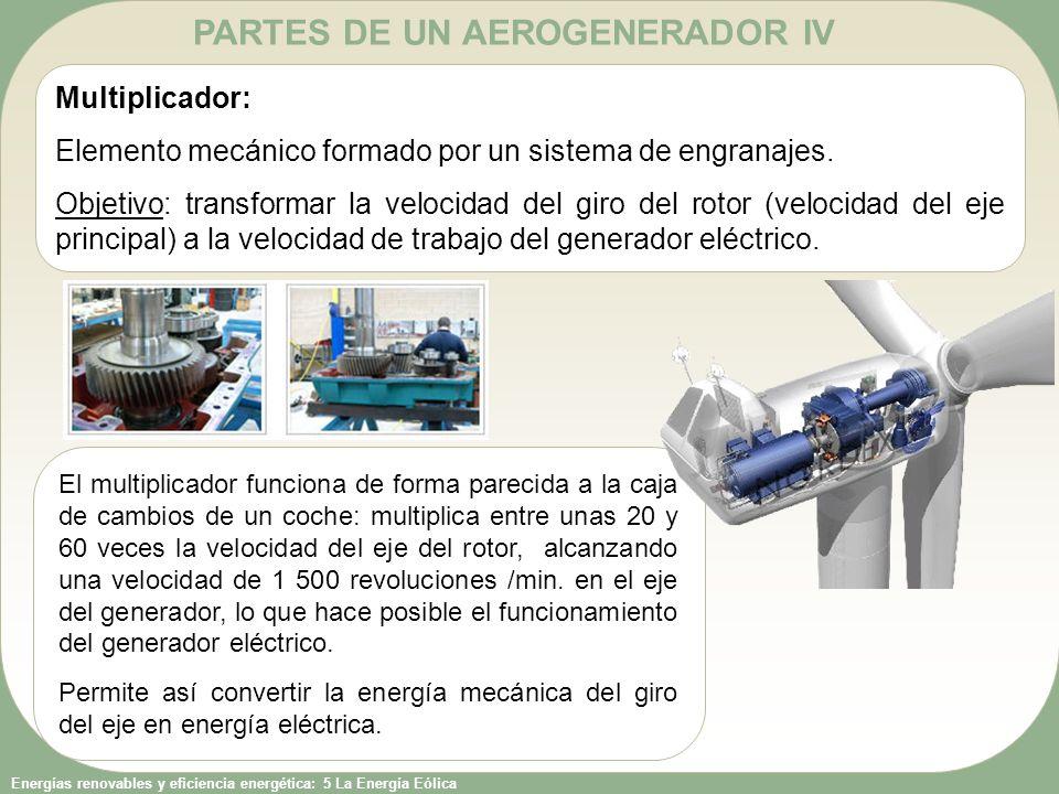 Energías renovables y eficiencia energética: 5 La Energía Eólica PARTES DE UN AEROGENERADOR V Generador eléctrico: Máquina eléctrica encargada de transformar la energía mecánica en energía eléctrica.