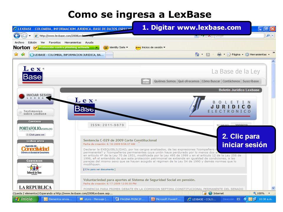 Como se ingresa a LexBase 1. Digitar www.lexbase.com 2. Clic para iniciar sesión