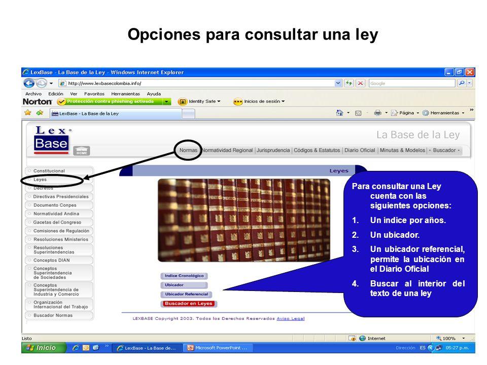 Opciones para consultar una ley Para consultar una Ley cuenta con las siguientes opciones: 1.Un índice por años. 2.Un ubicador. 3.Un ubicador referenc