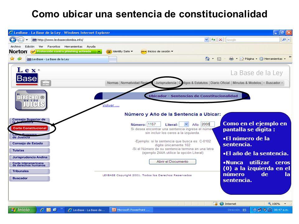 Como en el ejemplo en pantalla se digita : El número de la sentencia.