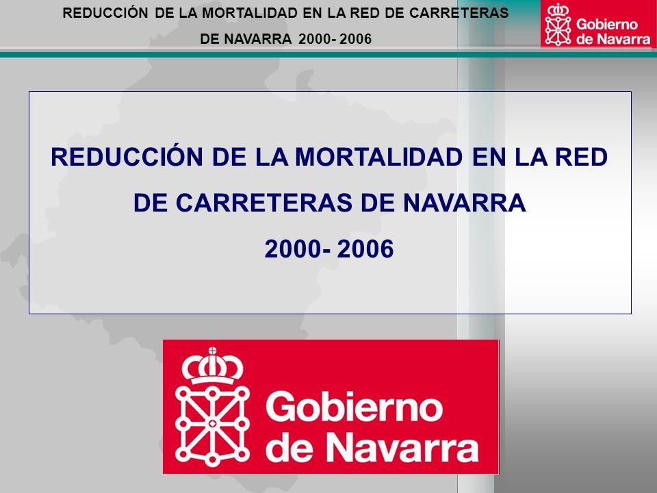 REDUCCIÓN DE LA MORTALIDAD EN LA RED DE CARRETERAS DE NAVARRA 2000- 2006 2)GESTIÓN COMPARTIDA EN POLICÍA DE TRÁFICO: POLICÍA FORAL + GUARDIA CIVIL COMPETENCIAS DEL GOBIERNO DE NAVARRA: 1)ADMINISTRA LA TOTALIDAD DE LA RED DE CARRETERAS DE NAVARRA: 3.886 KMS.