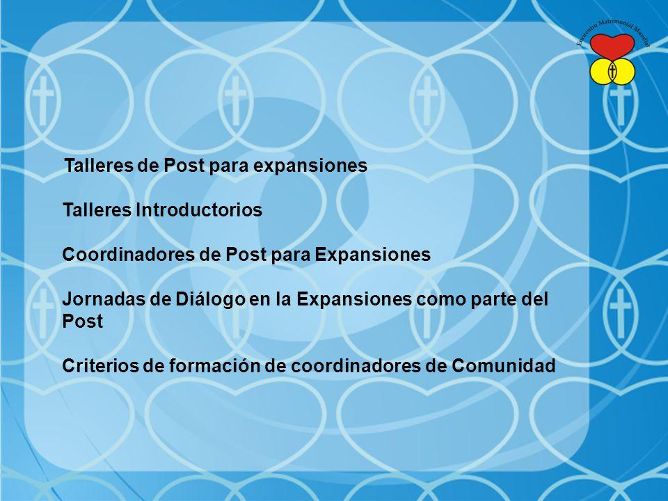 Talleres de Post para expansiones Talleres Introductorios Coordinadores de Post para Expansiones Jornadas de Diálogo en la Expansiones como parte del Post Criterios de formación de coordinadores de Comunidad