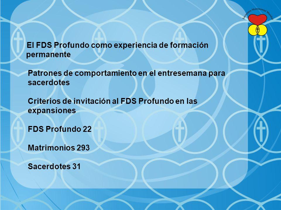 El FDS Profundo como experiencia de formación permanente Patrones de comportamiento en el entresemana para sacerdotes Criterios de invitación al FDS Profundo en las expansiones FDS Profundo 22 Matrimonios 293 Sacerdotes 31