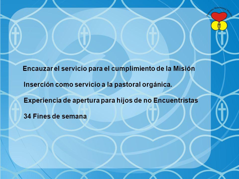 Encauzar el servicio para el cumplimiento de la Misión Inserción como servicio a la pastoral orgánica.