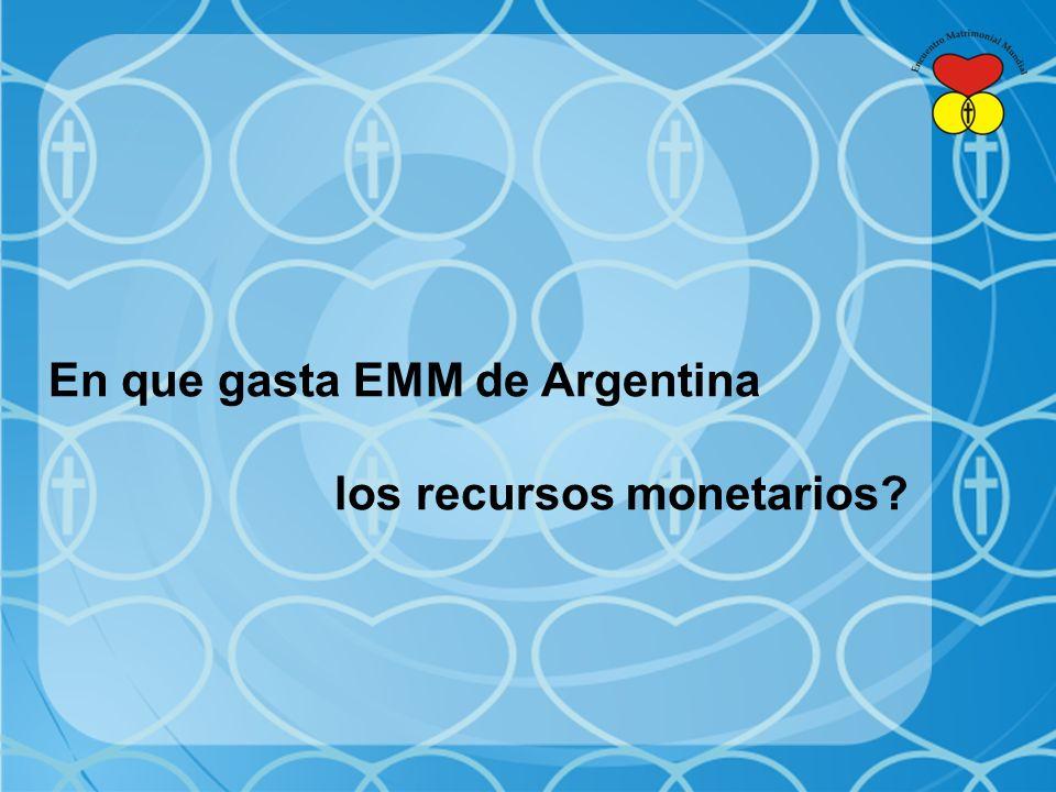 En que gasta EMM de Argentina los recursos monetarios?
