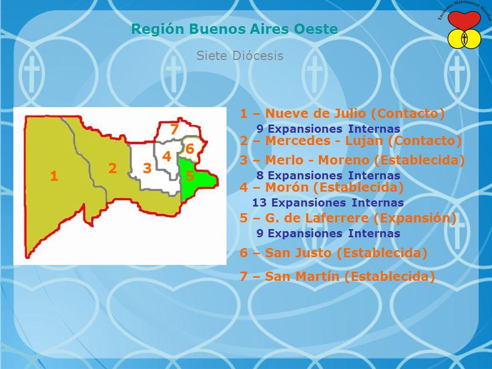 Siete Diócesis Región Buenos Aires Oeste 5 6 7 4 32 1 1 – Nueve de Julio (Contacto) 9 Expansiones Internas 2 – Mercedes - Lujan (Contacto) 3 – Merlo - Moreno (Establecida) 8 Expansiones Internas 4 – Morón (Establecida) 13 Expansiones Internas 5 – G.