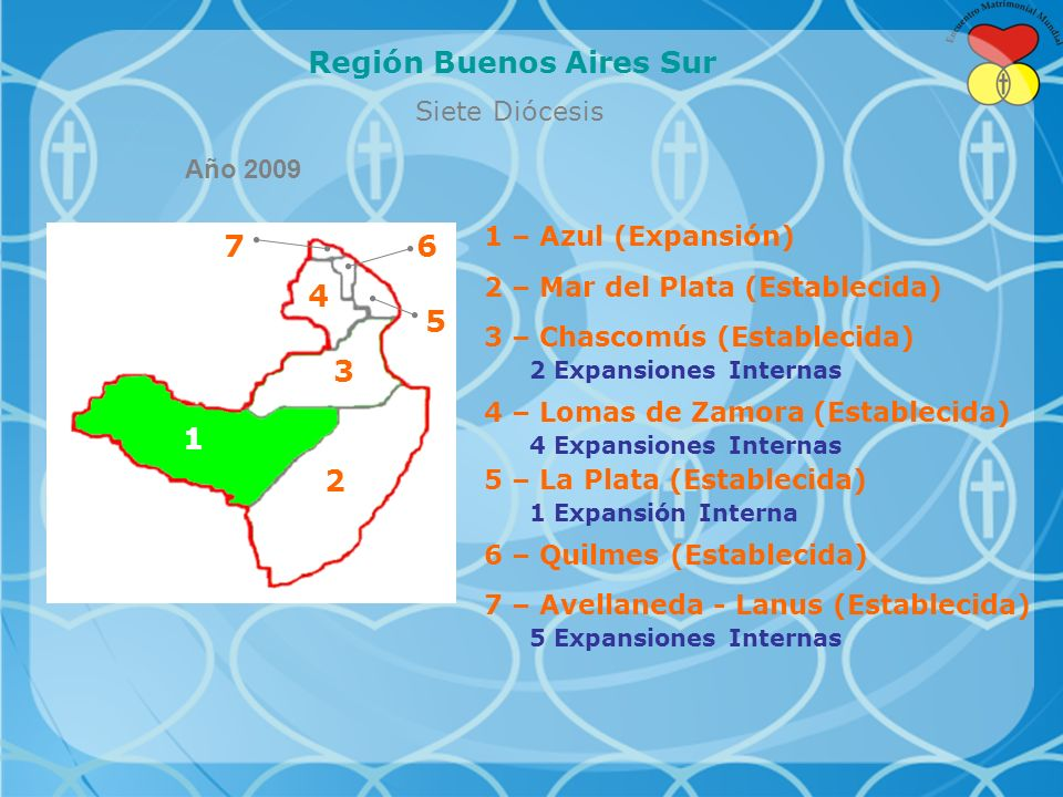 Siete Diócesis Región Buenos Aires Sur 1 – Azul (Expansión) 2 – Mar del Plata (Establecida) 3 – Chascomús (Establecida) 2 Expansiones Internas 4 – Lomas de Zamora (Establecida) 4 Expansiones Internas 5 – La Plata (Establecida) 1 Expansión Interna 6 – Quilmes (Establecida) 7 – Avellaneda - Lanus (Establecida) 5 Expansiones Internas 7 Año 2009 1 4 5 6 2 3