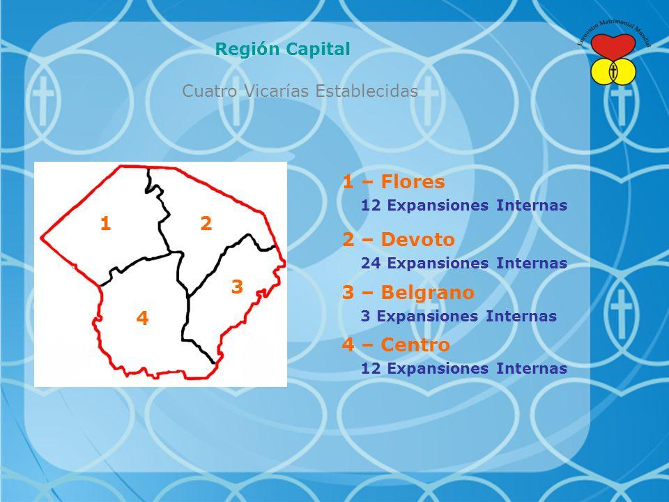 Región Capital Cuatro Vicarías Establecidas 12 3 4 1 – Flores 12 Expansiones Internas 2 – Devoto 24 Expansiones Internas 3 – Belgrano 3 Expansiones Internas 4 – Centro 12 Expansiones Internas