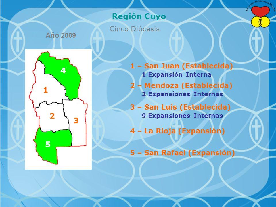 Región Cuyo Cinco Diócesis 4 1 2 3 5 1 – San Juan (Establecida) 1 Expansión Interna 2 – Mendoza (Establecida) 2 Expansiones Internas 3 – San Luís (Establecida) 9 Expansiones Internas 4 – La Rioja (Expansiòn) 5 – San Rafael (Expansiòn) Año 2009