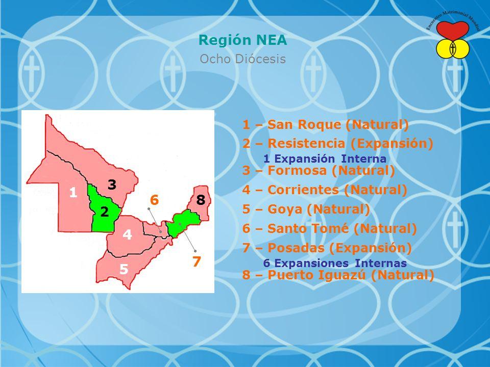 Región NEA Ocho Diócesis 1 – San Roque (Natural) 2 – Resistencia (Expansión) 1 Expansión Interna 3 – Formosa (Natural) 4 – Corrientes (Natural) 5 – Goya (Natural) 6 – Santo Tomé (Natural) 8 – Puerto Iguazú (Natural) 7 – Posadas (Expansión) 6 Expansiones Internas 1 2 3 4 5 6 7 8