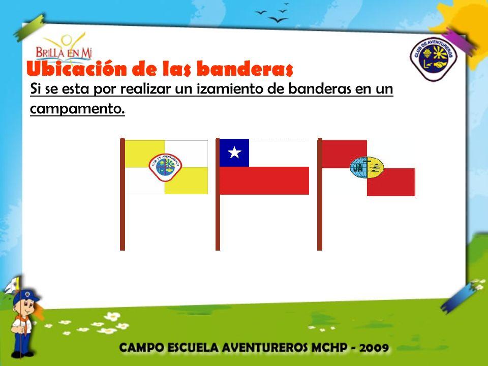 Ubicación de las banderas Si se esta por realizar un izamiento de banderas en un campamento.