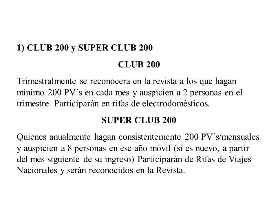 1) CLUB 200 y SUPER CLUB 200 CLUB 200 Trimestralmente se reconocera en la revista a los que hagan mínimo 200 PV´s en cada mes y auspicien a 2 personas