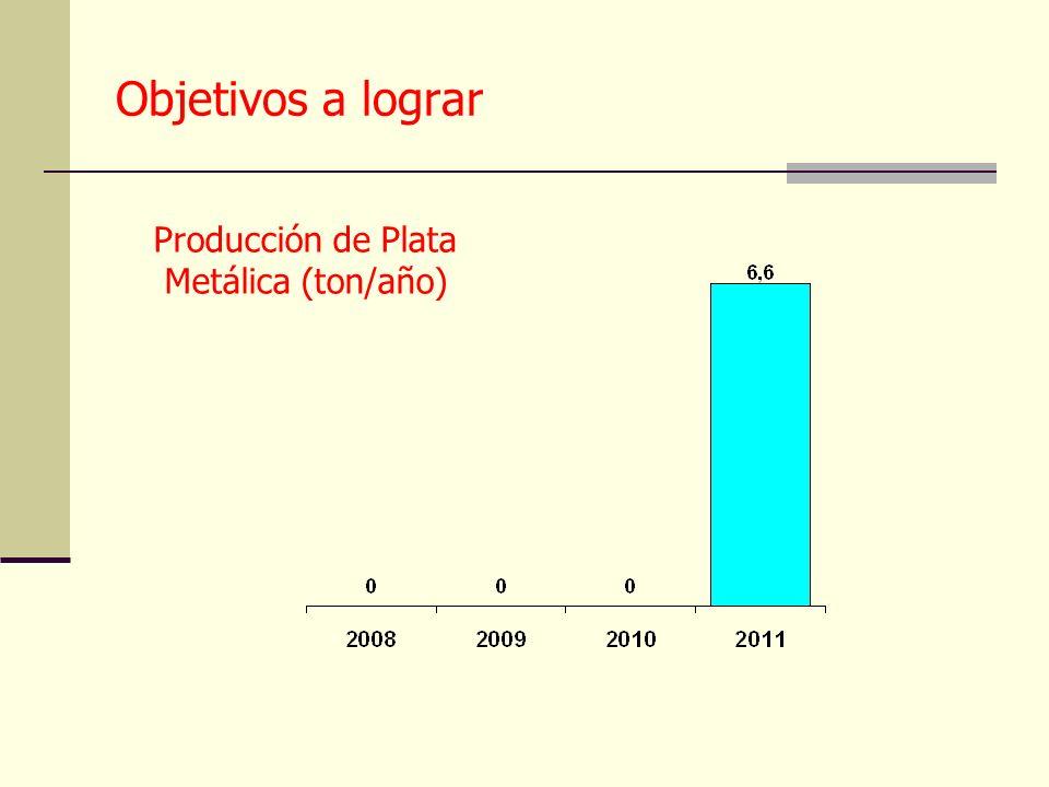 Objetivos a lograr Producción de Plata Metálica (ton/año)