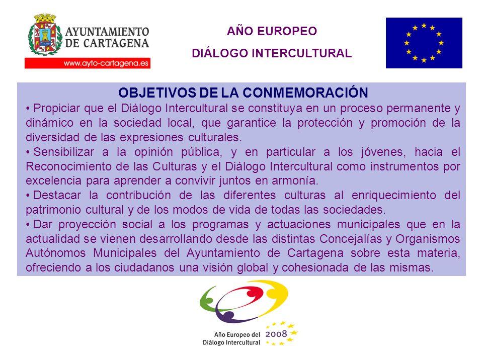 AÑO EUROPEO DIÁLOGO INTERCULTURAL OBJETIVOS DE LA CONMEMORACIÓN Propiciar que el Diálogo Intercultural se constituya en un proceso permanente y dinámico en la sociedad local, que garantice la protección y promoción de la diversidad de las expresiones culturales.