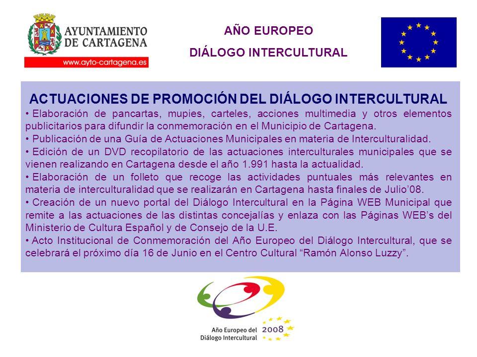 AÑO EUROPEO DIÁLOGO INTERCULTURAL ACTUACIONES DE PROMOCIÓN DEL DIÁLOGO INTERCULTURAL Elaboración de pancartas, mupies, carteles, acciones multimedia y otros elementos publicitarios para difundir la conmemoración en el Municipio de Cartagena.