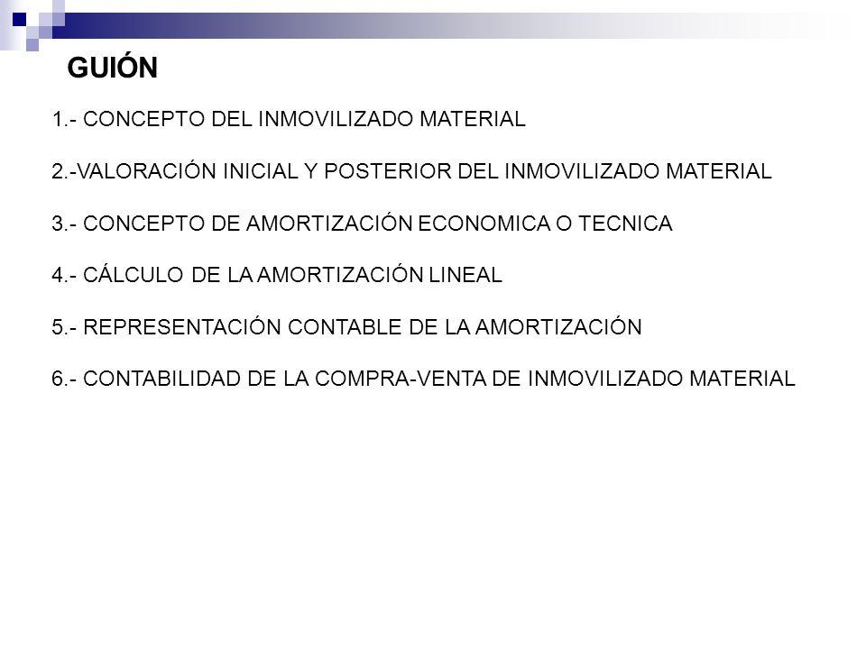 GUIÓN 1.- CONCEPTO DEL INMOVILIZADO MATERIAL 2.-VALORACIÓN INICIAL Y POSTERIOR DEL INMOVILIZADO MATERIAL 3.- CONCEPTO DE AMORTIZACIÓN ECONOMICA O TECN