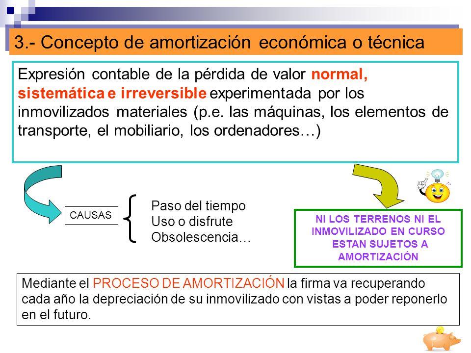 3.- Concepto de amortización económica o técnica Expresión contable de la pérdida de valor normal, sistemática e irreversible experimentada por los in