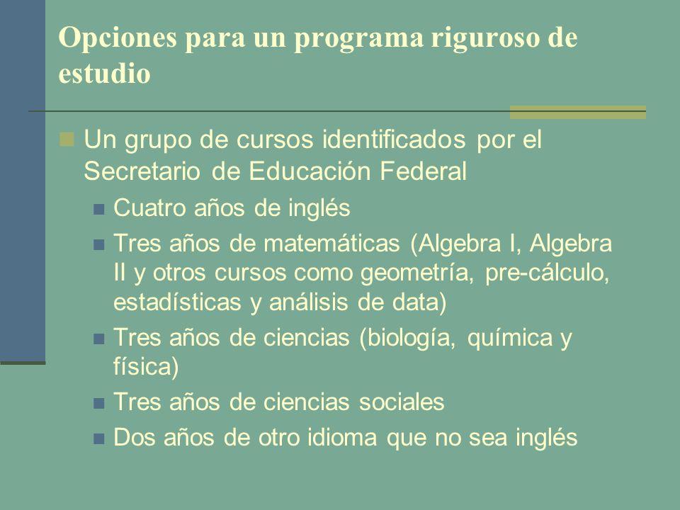 Opciones para un programa riguroso de estudio Un grupo de cursos identificados por el Secretario de Educación Federal Cuatro años de inglés Tres años
