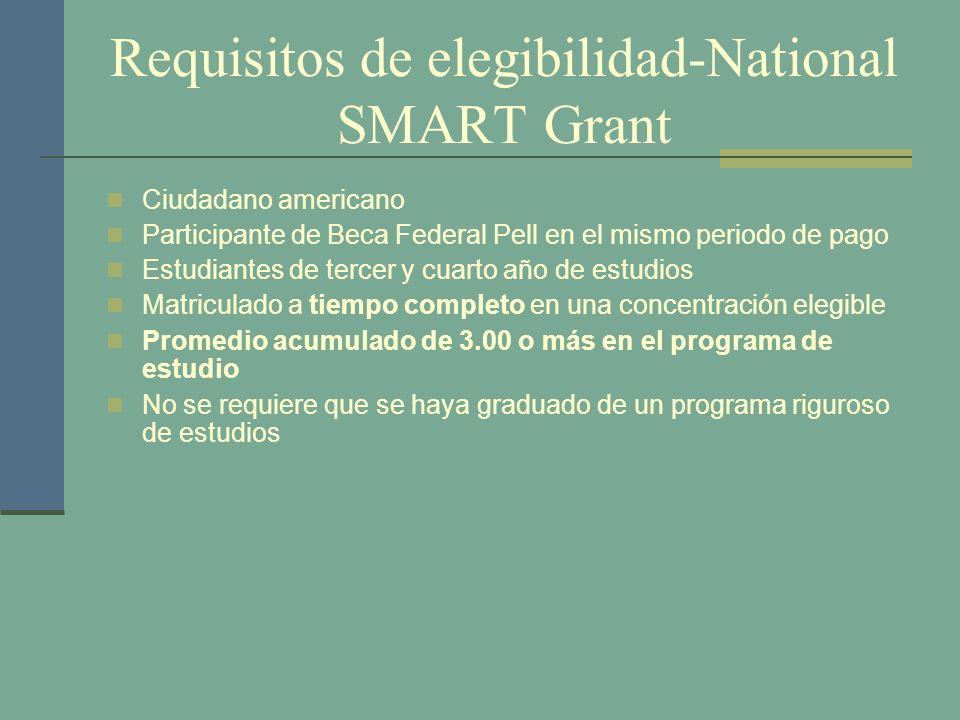 Requisitos de elegibilidad-National SMART Grant Ciudadano americano Participante de Beca Federal Pell en el mismo periodo de pago Estudiantes de terce