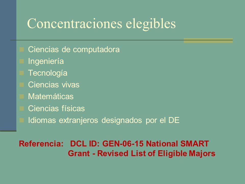 Concentraciones elegibles Ciencias de computadora Ingeniería Tecnología Ciencias vivas Matemáticas Ciencias físicas Idiomas extranjeros designados por