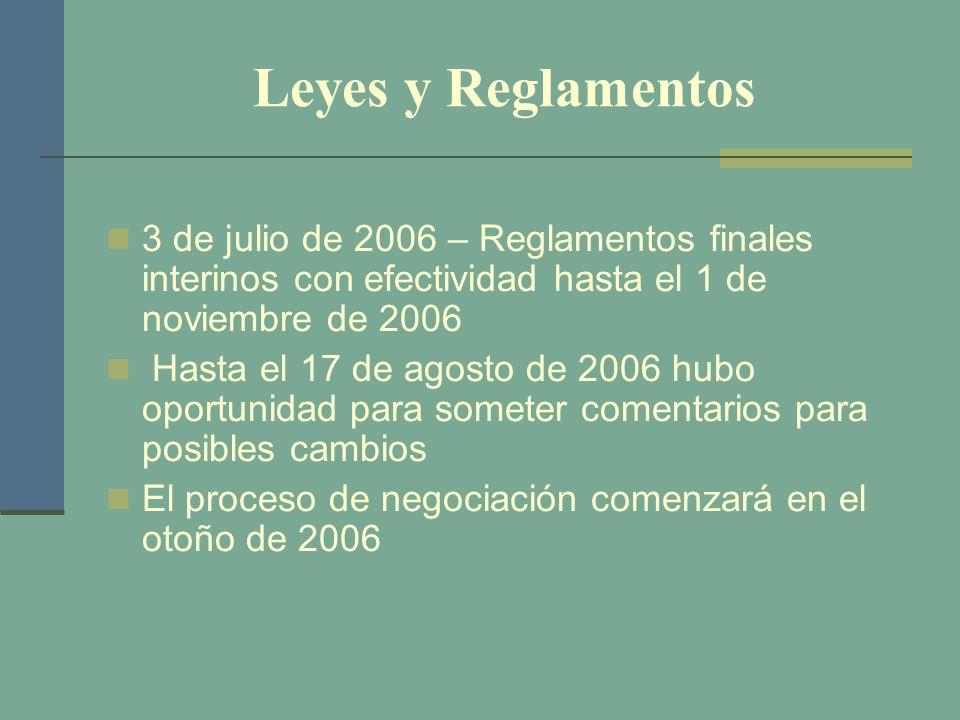 Leyes y Reglamentos 3 de julio de 2006 – Reglamentos finales interinos con efectividad hasta el 1 de noviembre de 2006 Hasta el 17 de agosto de 2006 h