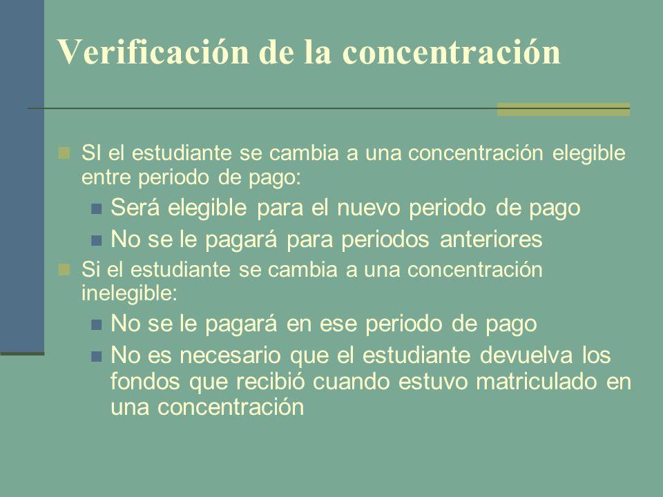 Verificación de la concentración SI el estudiante se cambia a una concentración elegible entre periodo de pago: Será elegible para el nuevo periodo de