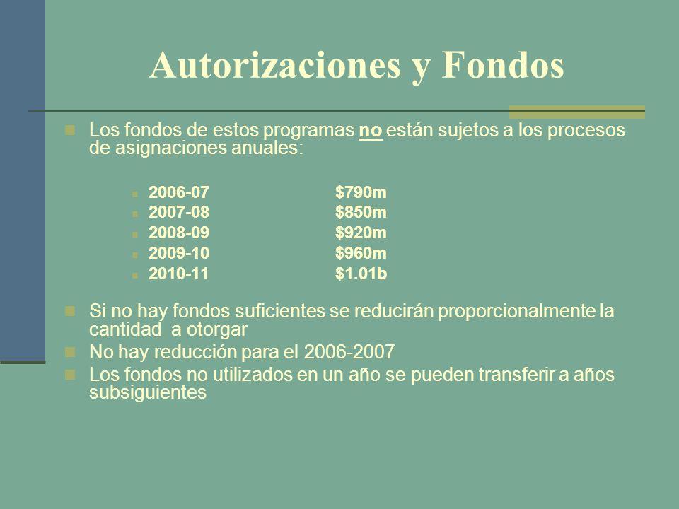 Autorizaciones y Fondos Los fondos de estos programas no están sujetos a los procesos de asignaciones anuales: 2006-07$790m 2007-08$850m 2008-09$920m