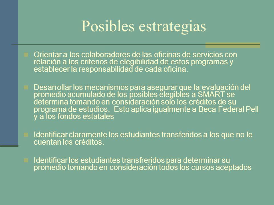 Posibles estrategias Orientar a los colaboradores de las oficinas de servicios con relación a los criterios de elegibilidad de estos programas y estab
