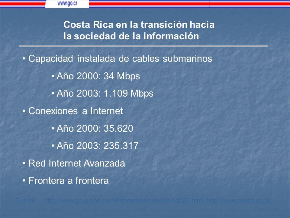 Costa Rica en la transición hacia la sociedad de la información Capacidad instalada de cables submarinos Año 2000: 34 Mbps Año 2003: 1.109 Mbps Conexiones a Internet Año 2000: 35.620 Año 2003: 235.317 Red Internet Avanzada Frontera a frontera Fuente: http://www.grupoice.com/esp/temas/noticias/nac20.html, http://www.racsa.co.cr,