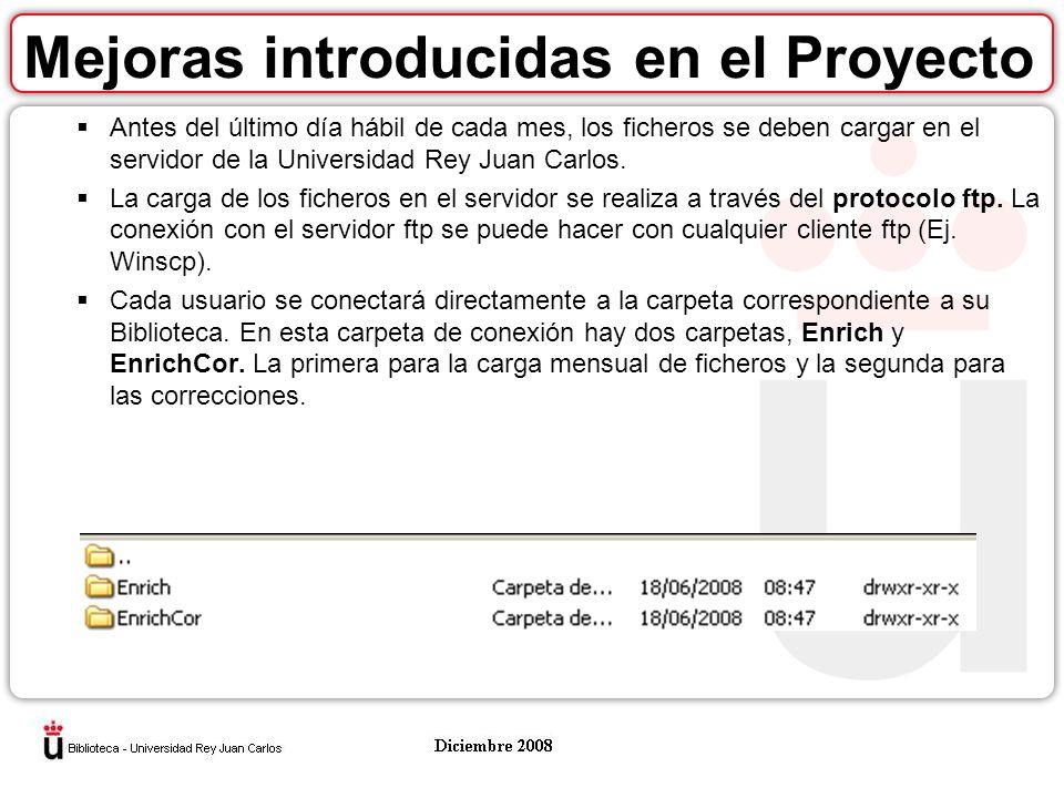 Mejoras introducidas en el Proyecto Antes del último día hábil de cada mes, los ficheros se deben cargar en el servidor de la Universidad Rey Juan Carlos.