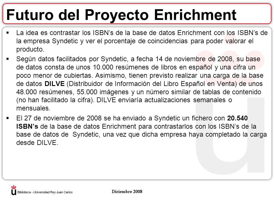 Futuro del Proyecto Enrichment La idea es contrastar los ISBNs de la base de datos Enrichment con los ISBNs de la empresa Syndetic y ver el porcentaje de coincidencias para poder valorar el producto.
