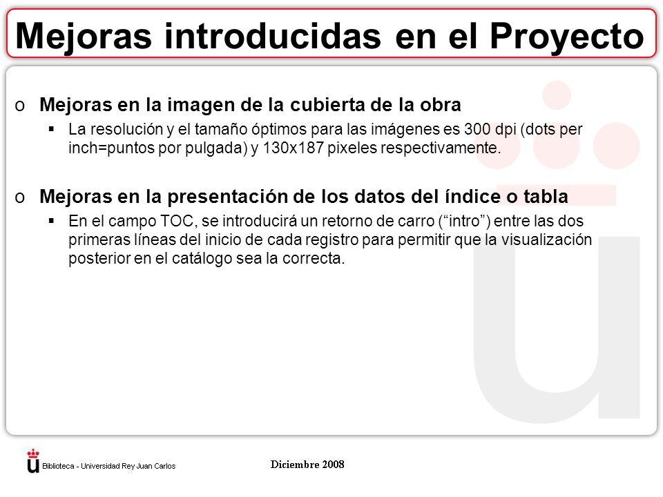 Mejoras introducidas en el Proyecto