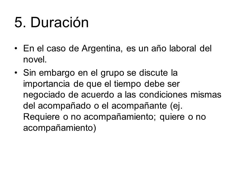5. Duración En el caso de Argentina, es un año laboral del novel.