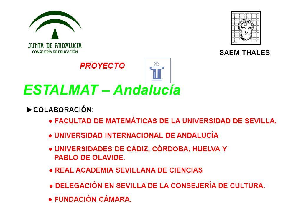 PROYECTO ESTALMAT – Andalucía SAEM THALES COLABORACIÓN: FACULTAD DE MATEMÁTICAS DE LA UNIVERSIDAD DE SEVILLA. UNIVERSIDAD INTERNACIONAL DE ANDALUCÍA D