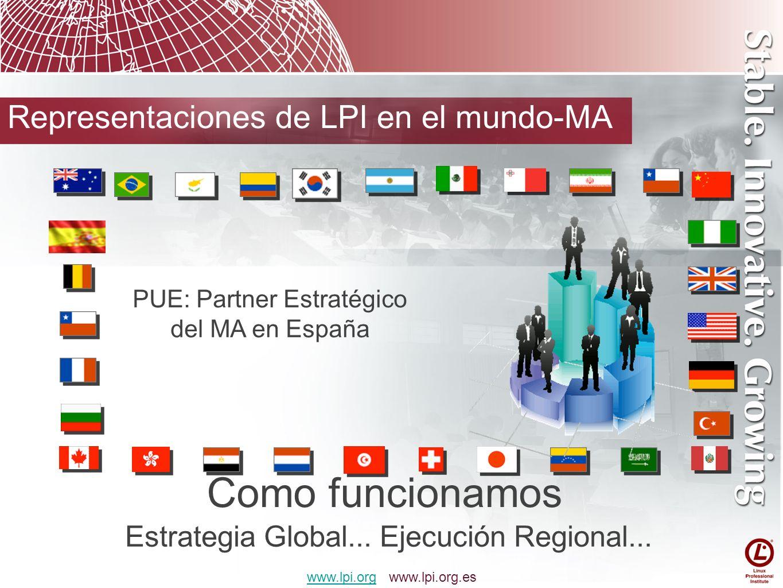 Como funcionamos Estrategia Global... Ejecución Regional... www.lpi.orgwww.lpi.org www.lpi.org.es Representaciones de LPI en el mundo-MA PUE: Partner