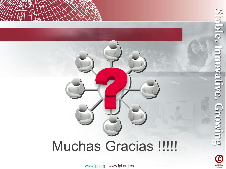Muchas Gracias !!!!! www.lpi.orgwww.lpi.org www.lpi.org.es