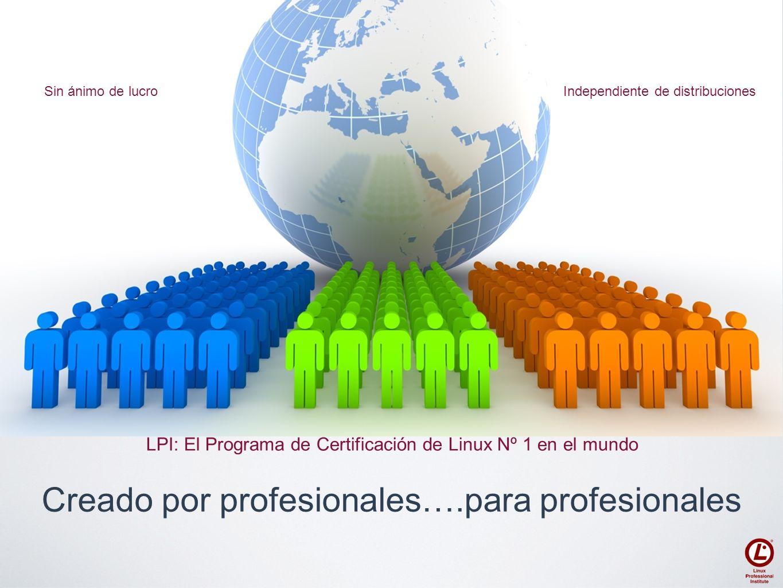 Creado por profesionales….para profesionales Sin ánimo de lucroIndependiente de distribuciones LPI: El Programa de Certificación de Linux Nº 1 en el m