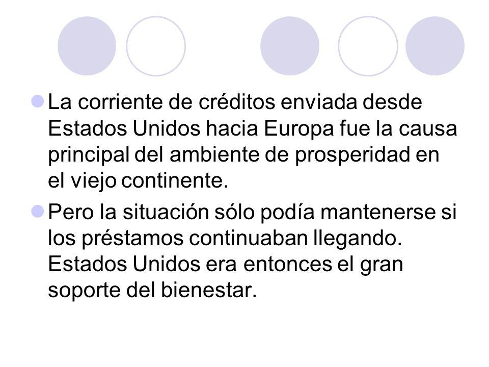 La corriente de créditos enviada desde Estados Unidos hacia Europa fue la causa principal del ambiente de prosperidad en el viejo continente. Pero la