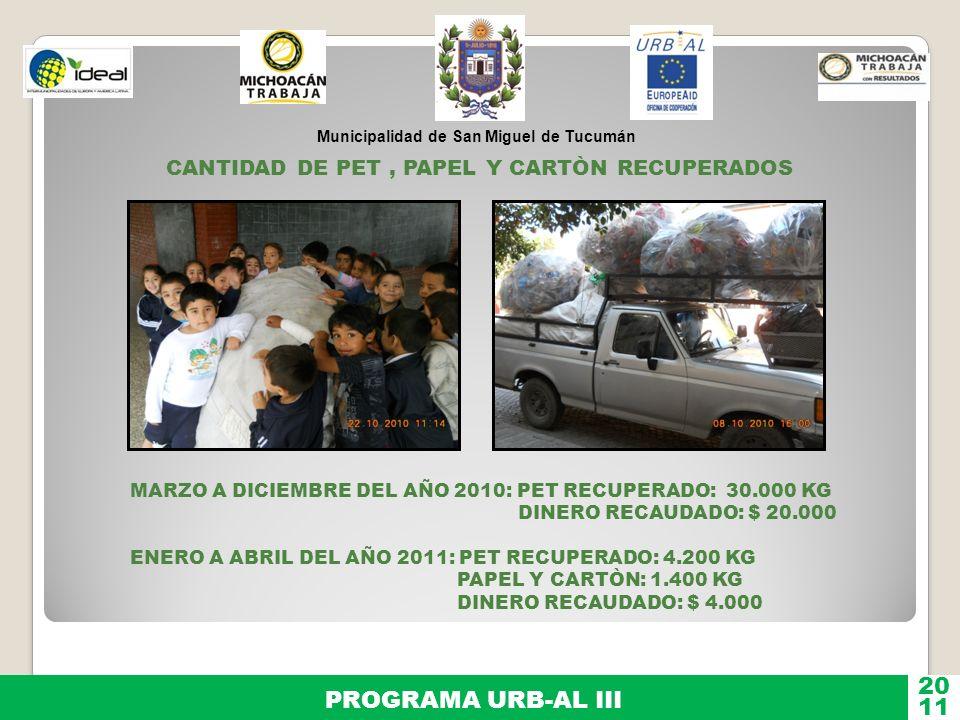 Municipalidad de San Miguel de Tucumán PROGRAMA URB-AL III 11 20 CANTIDAD DE PET, PAPEL Y CARTÒN RECUPERADOS