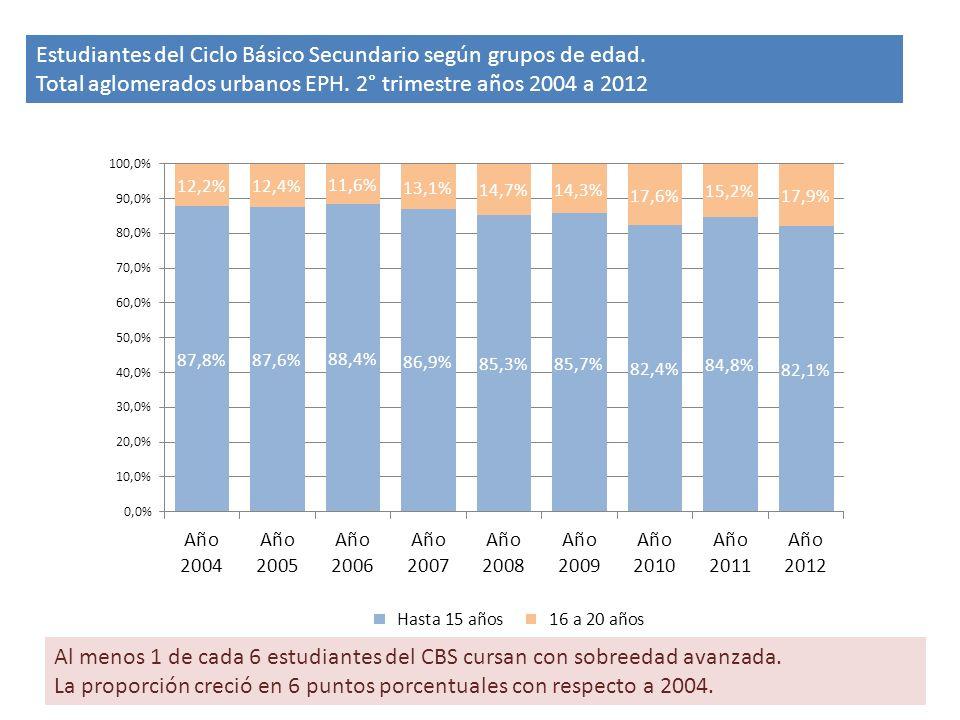 Estudiantes del Ciclo Básico Secundario según grupos de edad.