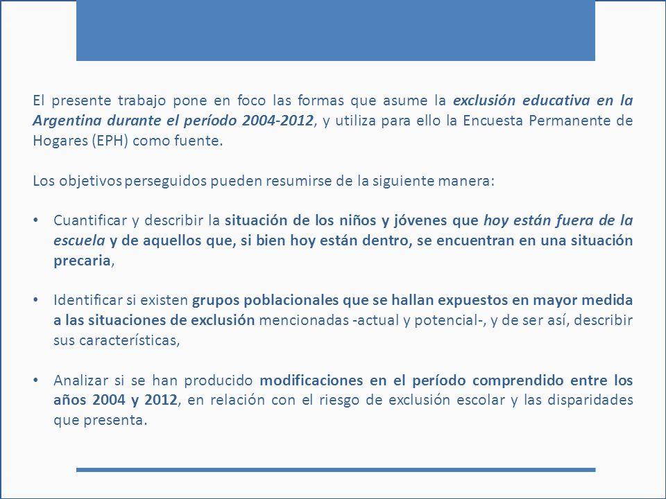 El presente trabajo pone en foco las formas que asume la exclusión educativa en la Argentina durante el período 2004-2012, y utiliza para ello la Encuesta Permanente de Hogares (EPH) como fuente.