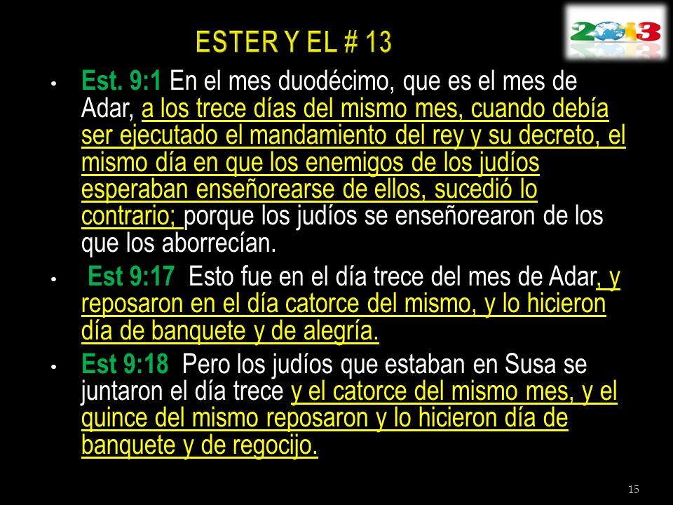Est. 9:1 En el mes duodécimo, que es el mes de Adar, a los trece días del mismo mes, cuando debía ser ejecutado el mandamiento del rey y su decreto, e