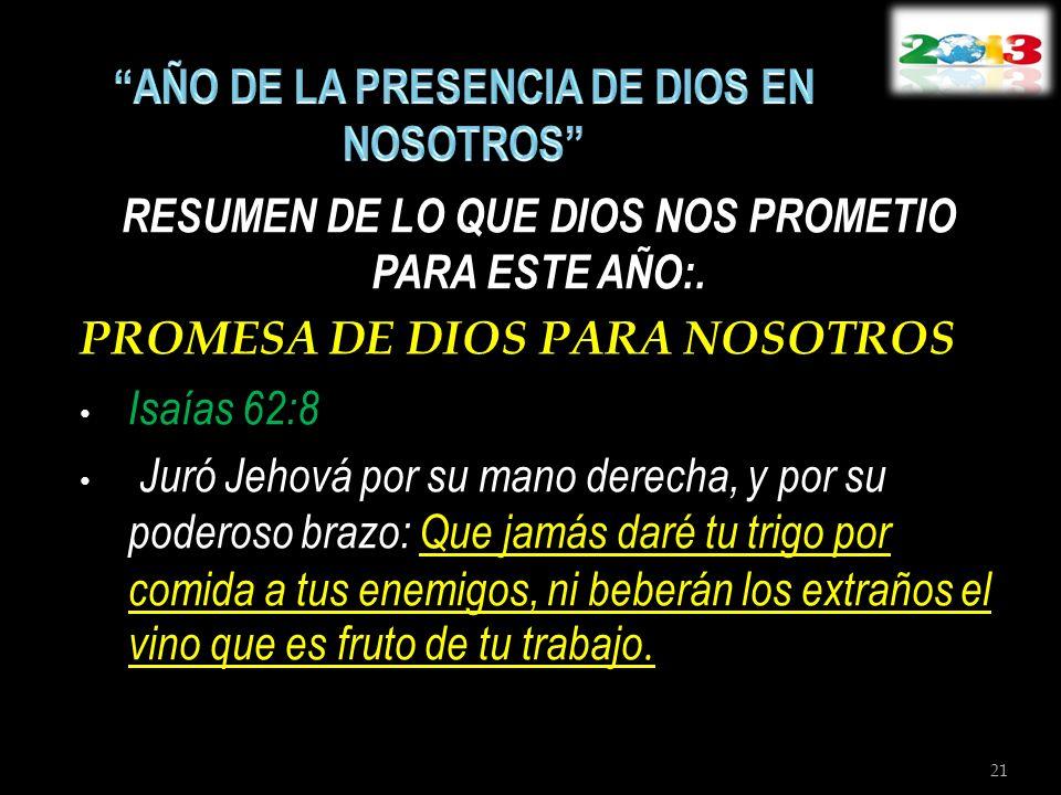 RESUMEN DE LO QUE DIOS NOS PROMETIO PARA ESTE AÑO:. PROMESA DE DIOS PARA NOSOTROS Isaías 62:8 Juró Jehová por su mano derecha, y por su poderoso brazo