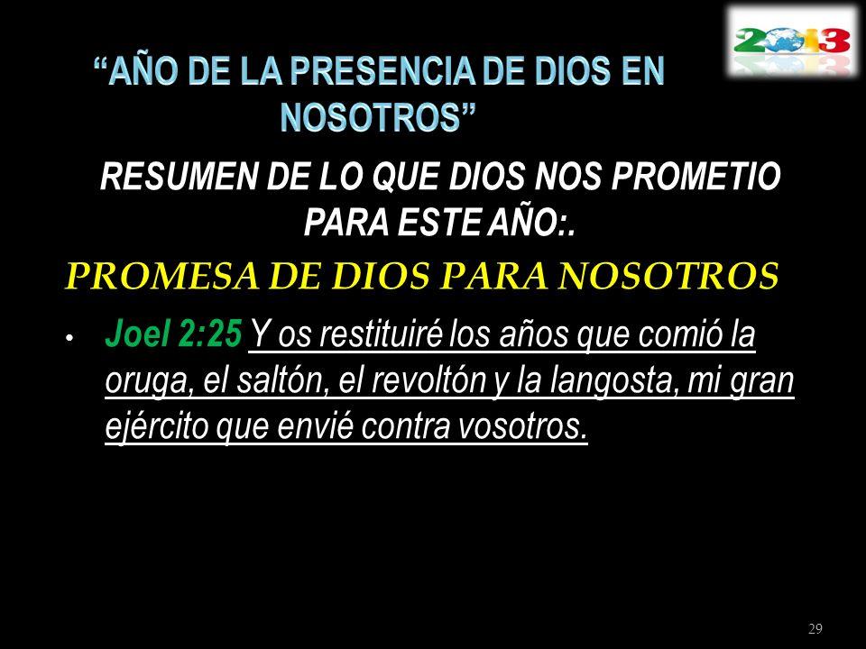 RESUMEN DE LO QUE DIOS NOS PROMETIO PARA ESTE AÑO:. PROMESA DE DIOS PARA NOSOTROS Joel 2:25 Y os restituiré los años que comió la oruga, el saltón, el