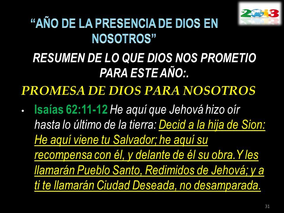 RESUMEN DE LO QUE DIOS NOS PROMETIO PARA ESTE AÑO:. PROMESA DE DIOS PARA NOSOTROS Isaías 62:11-12 He aquí que Jehová hizo oír hasta lo último de la ti