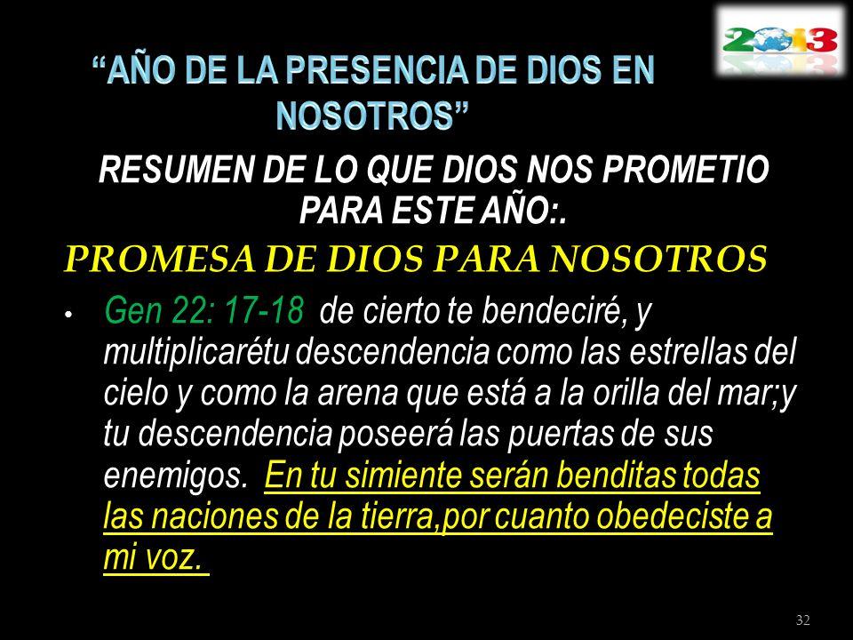RESUMEN DE LO QUE DIOS NOS PROMETIO PARA ESTE AÑO:. PROMESA DE DIOS PARA NOSOTROS Gen 22: 17-18 de cierto te bendeciré, y multiplicarétu descendencia
