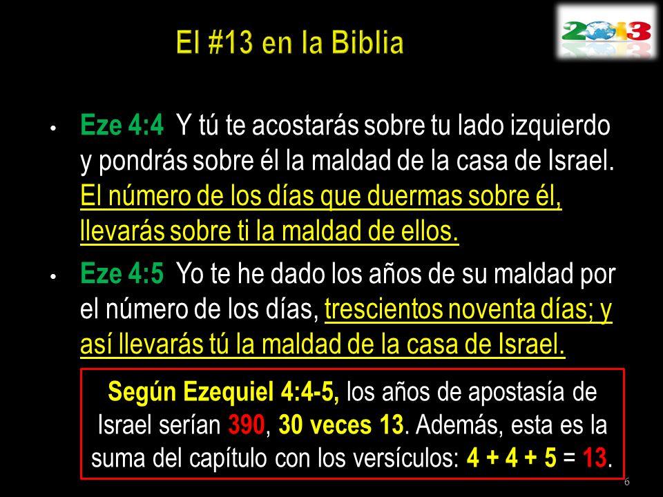 Eze 4:4 Y tú te acostarás sobre tu lado izquierdo y pondrás sobre él la maldad de la casa de Israel. El número de los días que duermas sobre él, lleva